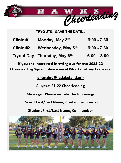 Cheer Tryouts for 2021-2022